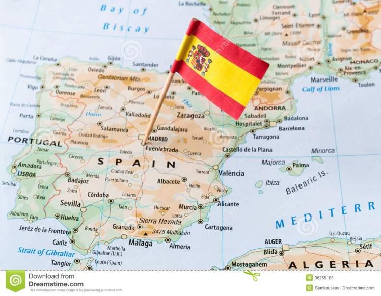 bandera-de-espaa-en-mapa-36255106